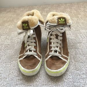 Adidas Women's Brown Suede High Tops Shoes Sz 9